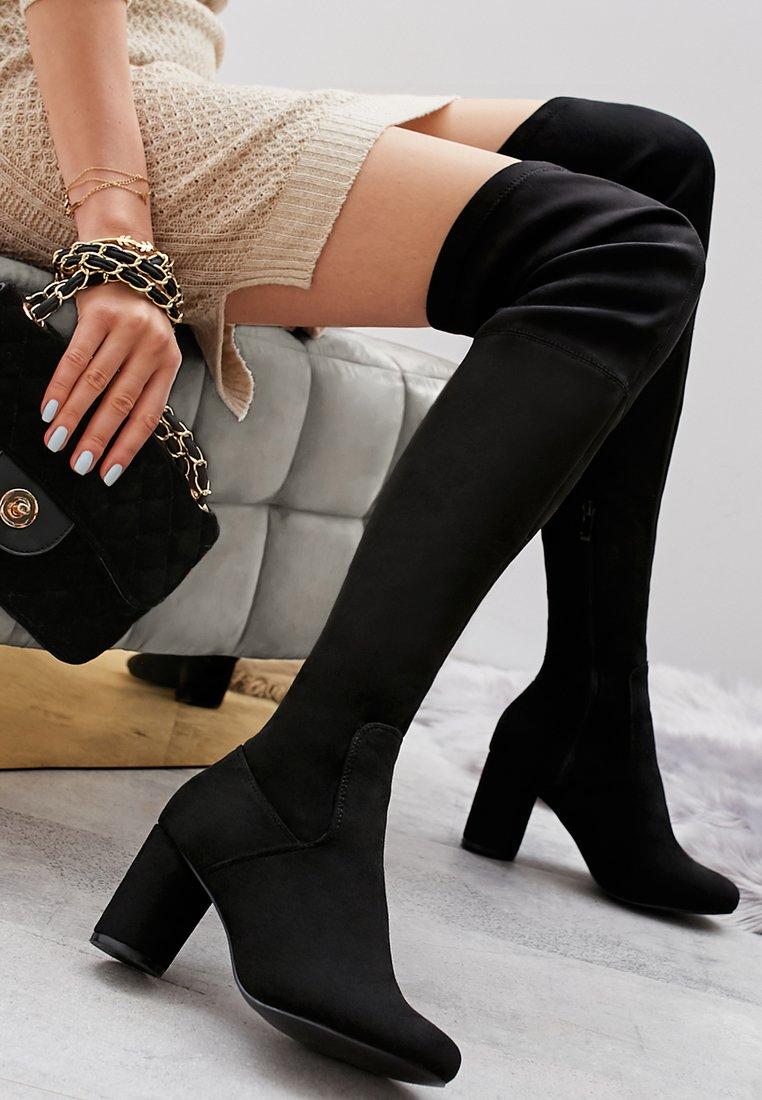 Czarne kozaki za kolano od Renee!