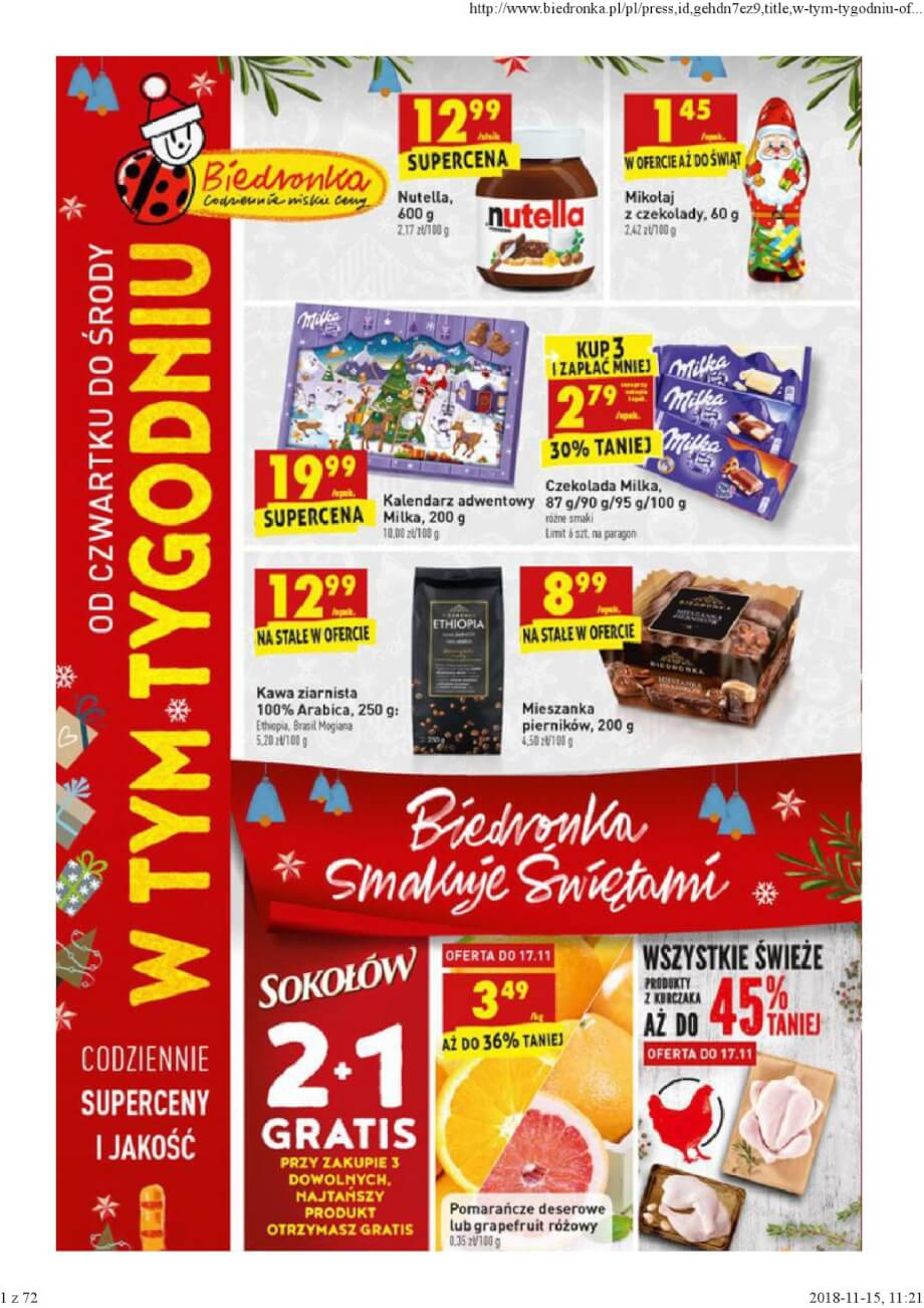 Biedronka, gazetka do 21.11.2018