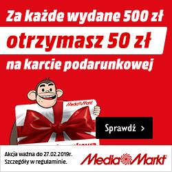 Za każde wydane 500 zł otrzymasz 50 zł na karcie podarunkowej w Media Markt.