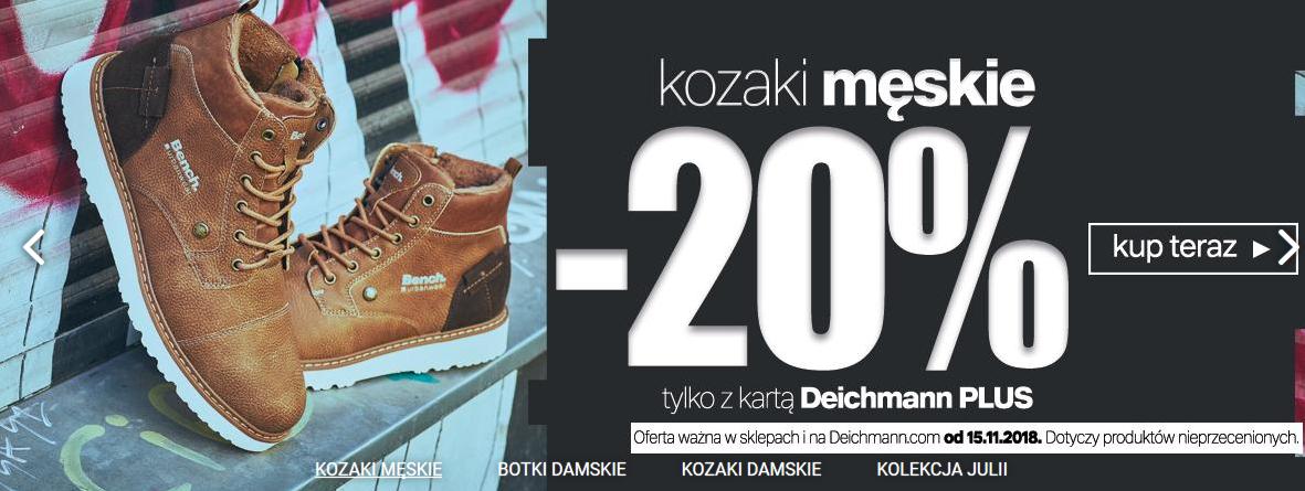 Deichmann: 20% rabatu na kozaki męskie z kartą Deichmann Plus.