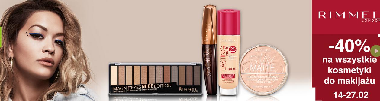Kosmetyki do makijażu Rimmel 40% taniej!