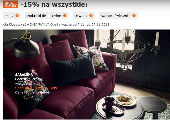 Promocja na poduszki, pledy, dywany, świece i świeczniki w IKEA Family.