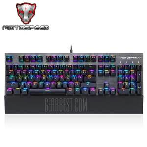 Motospeed CK108 USB Wired Game Keyboard - BLACK BLUE SWITCHES